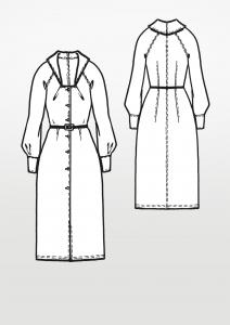 Ein Schnittmuster für ein langes Vintage Kleid aus den 70er-Jahren.