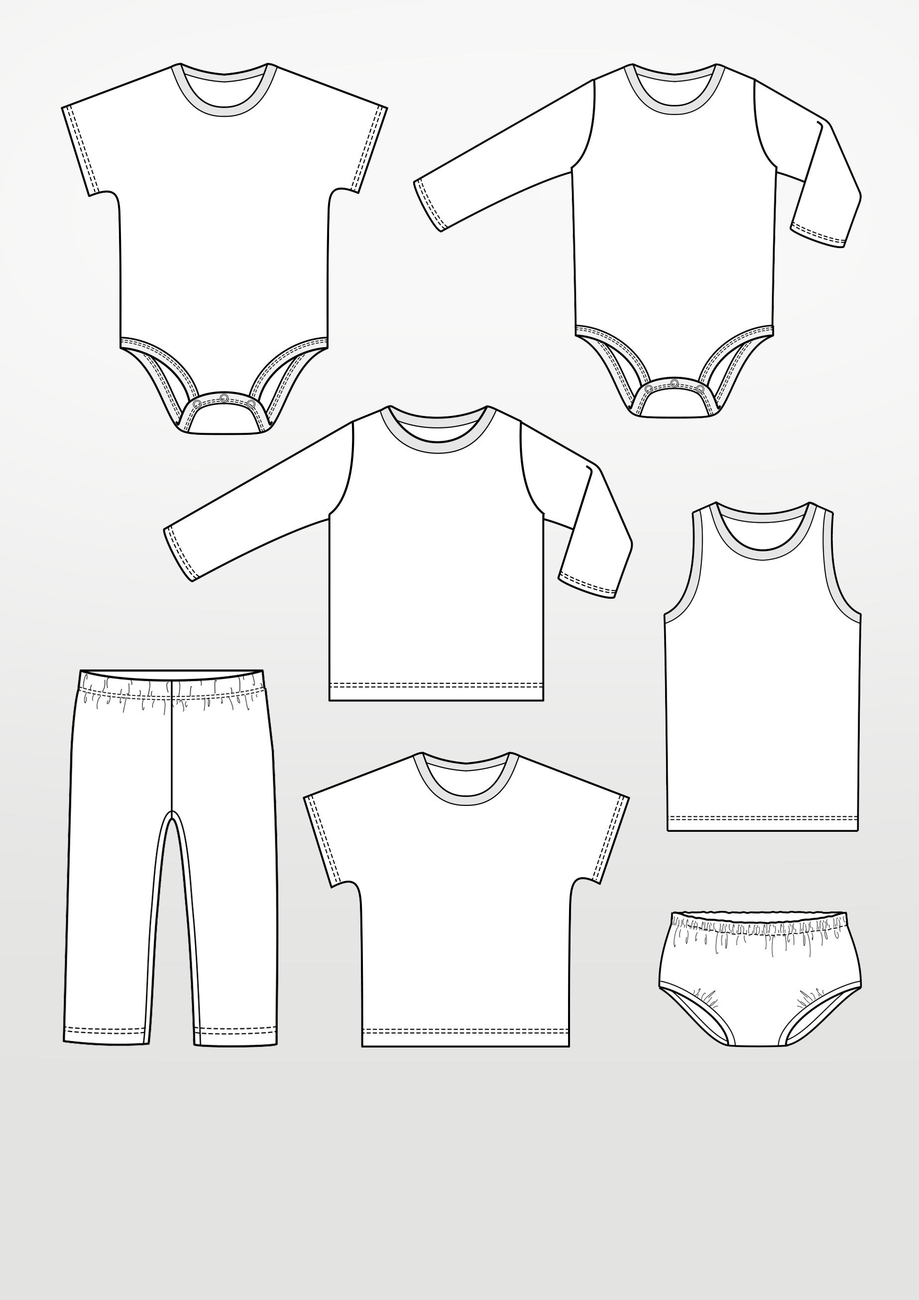Schnittmusterbogen Babybekleidung