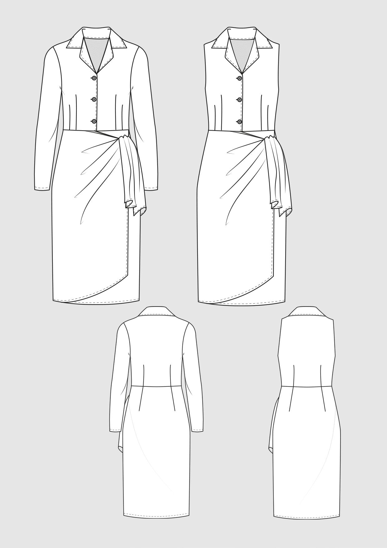 Produkt: Schnittmuster Hemdblusenkleid in Wickeloptik