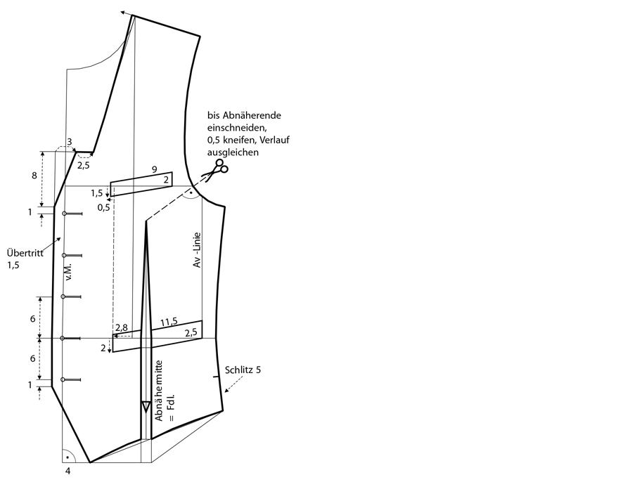 Schnittkonstruktion für Herren-Weste