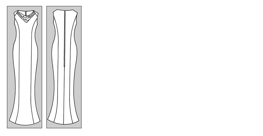 Abendkleid mit Römerfalten oder Wasserfallausschnitt