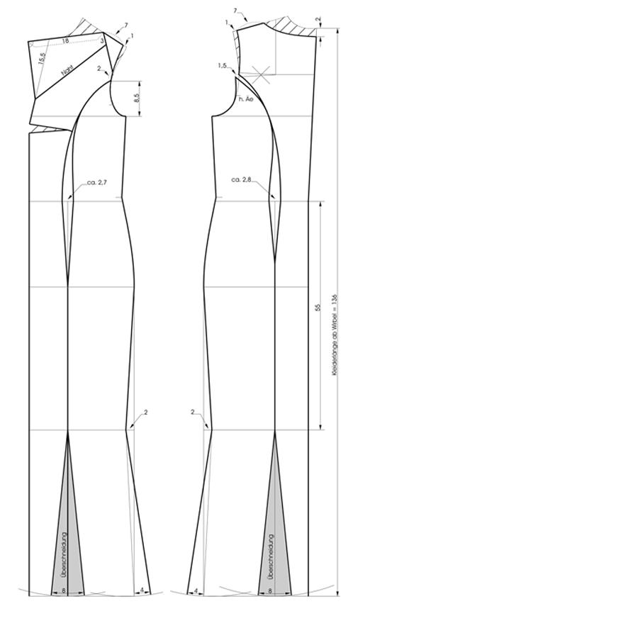 Schnittkonstruktion Abendkleid mit Römerfalten