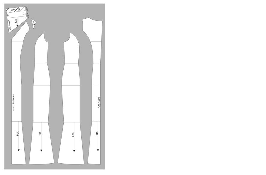 Schnittteile Abendkleid mit Römerfalten