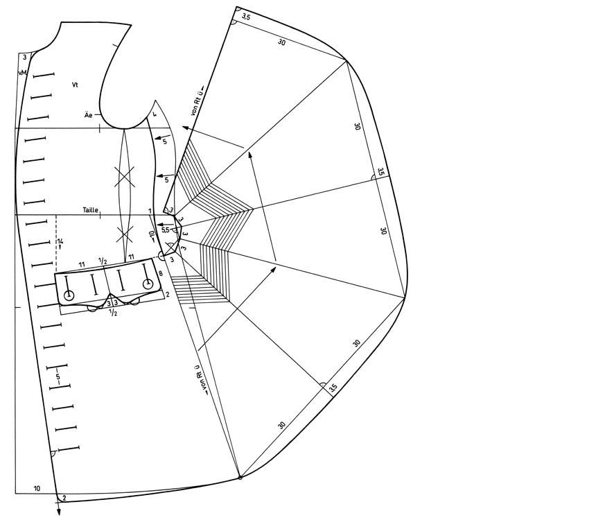 Schnittkonstruktion von historischem Justaucorp aus der Zeit des Rokoko