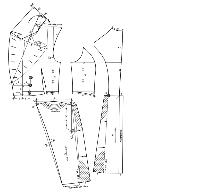 Schnittkonstruktion für historischen Frack aus dem Biedermeier