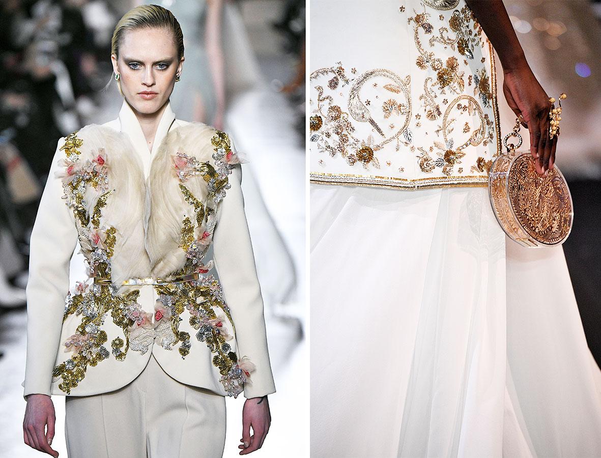 Perlenbestickte Kleider auf dem Laufsteg