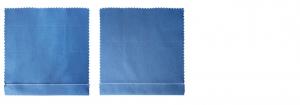 Ein blauer Stoff, der mit einem klassischen einfachen Saum vernäht wurde.