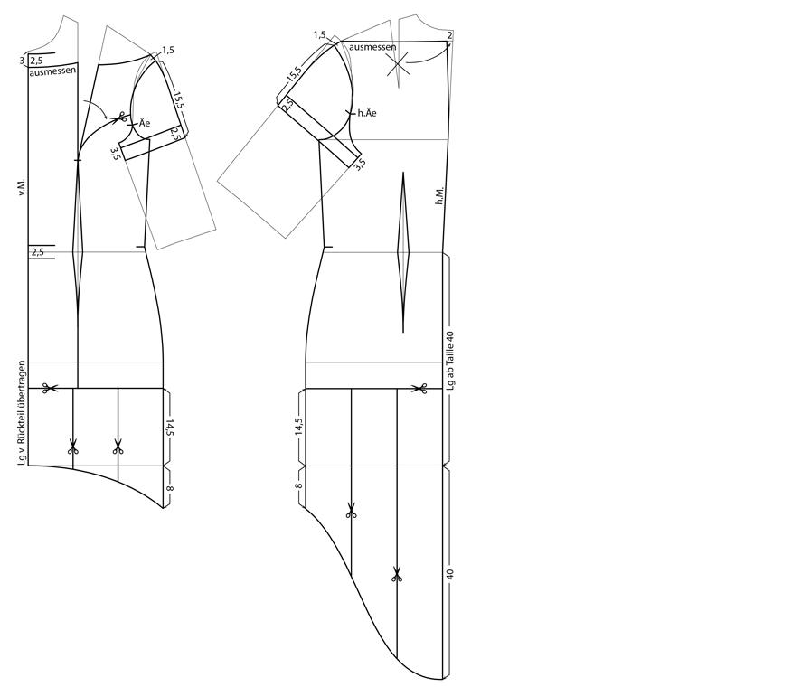 Schnittkonstruktion für ein Cocktailkleid mit Volant