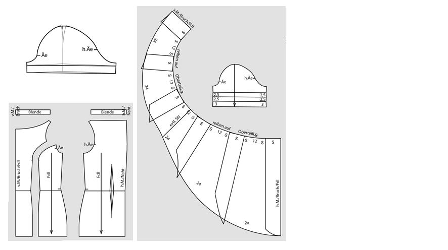 Schnittteile für ein Cocktailkleid mit Volant