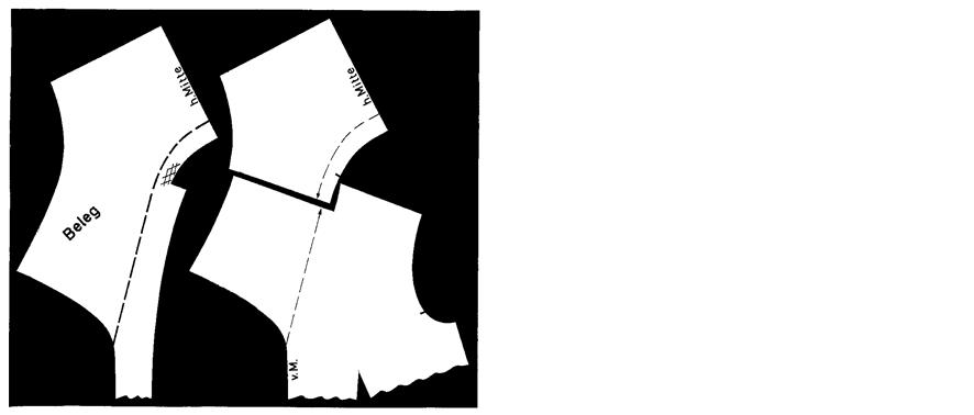 Schnittteile eines Matrosenkragens
