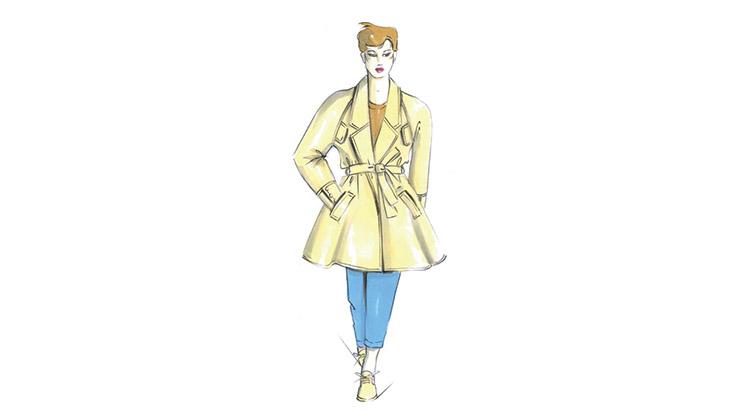 Ein gezeichneter gelber Mantel.