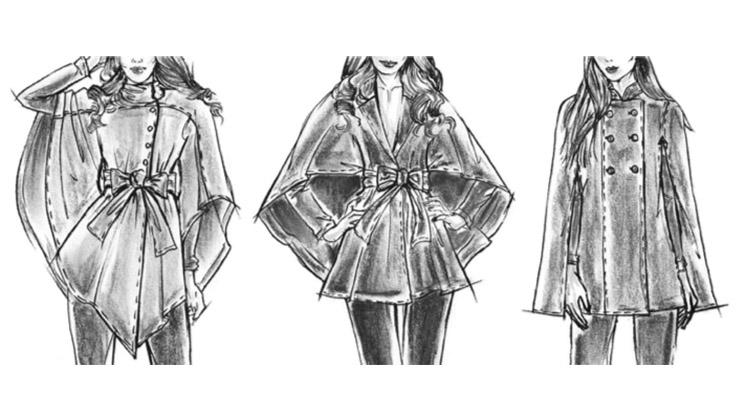 Modeillustrationen von Capes und Ponchos