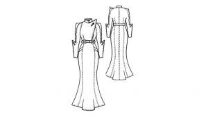 Ein gezeichnetes Schnittmuster für ein Mantelkleid im 30er Jahre Stil mit Taillenbetonung und langen Ärmeln.