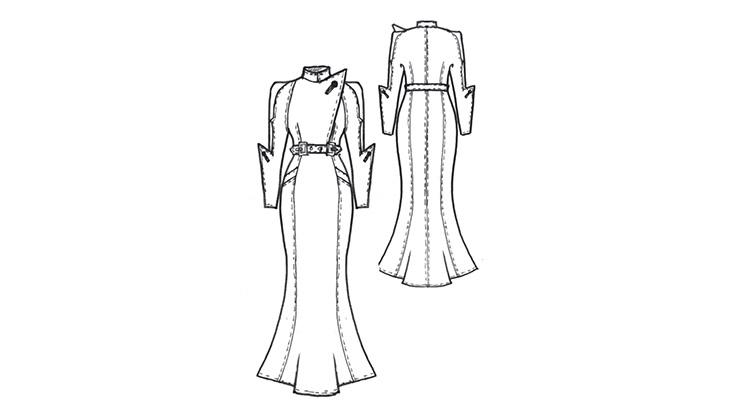 Ein gezeichnetes Schnittmuster für ein Mantelkleid im 30er-Jahre-Stil