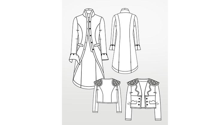 Modezeichnung einer Matador-Jacke und Justaucorps.