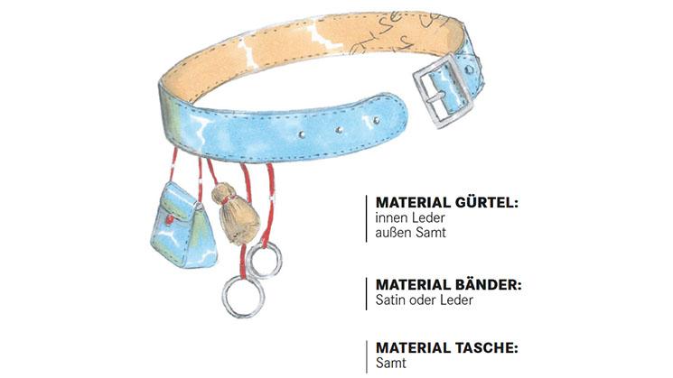Eine Modezeichnung von einem Gürtel aus Samt.