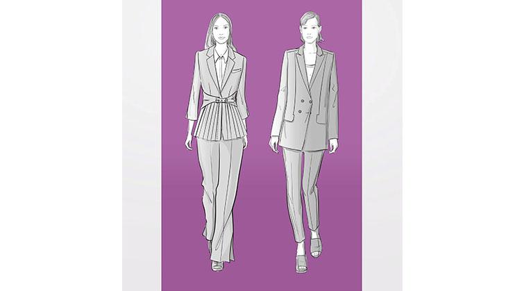 Modezeichnungen von Frauen in Hosenanzügen