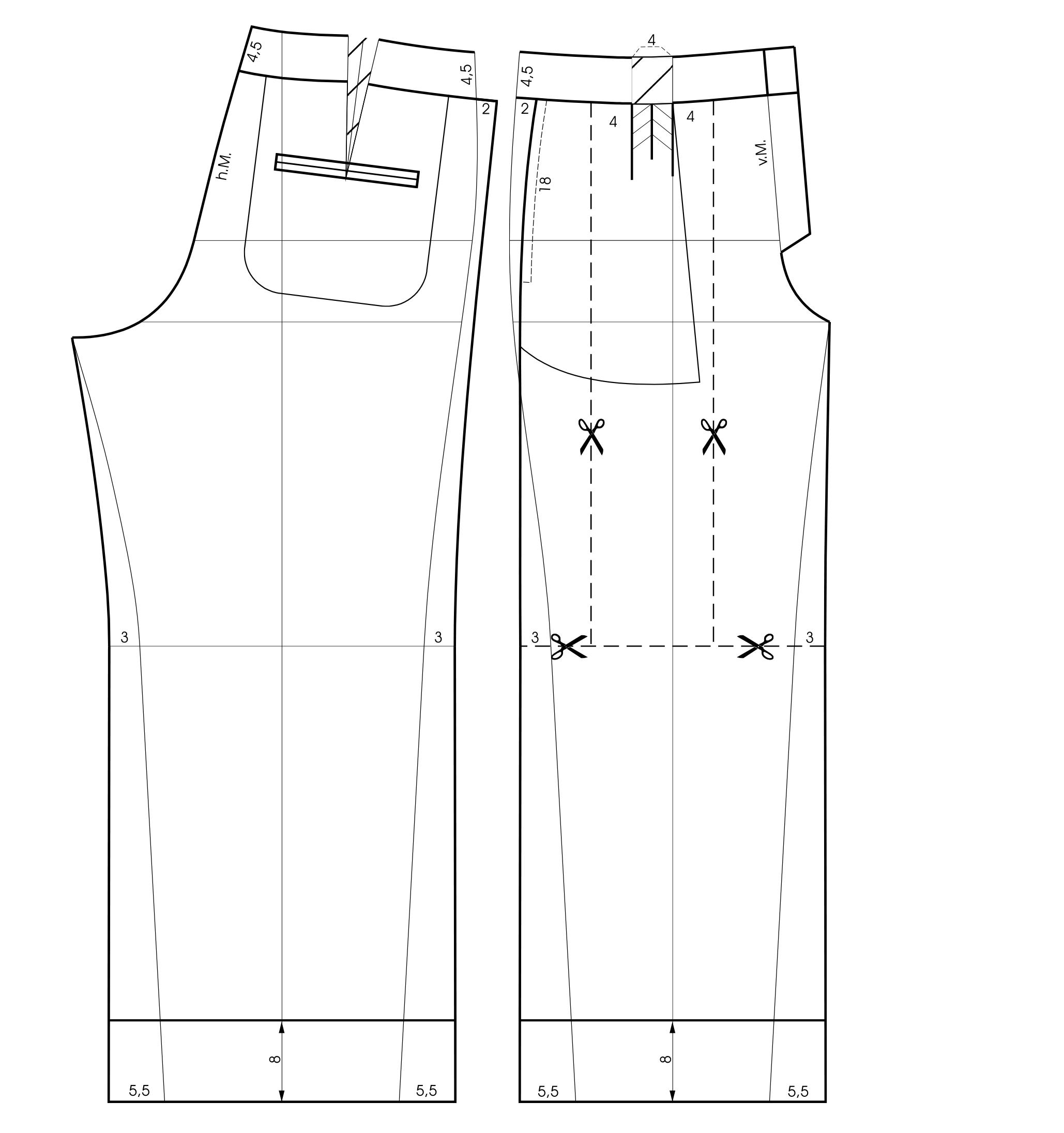 Schnittkonstruktion eine weiten Bundfaltenhose
