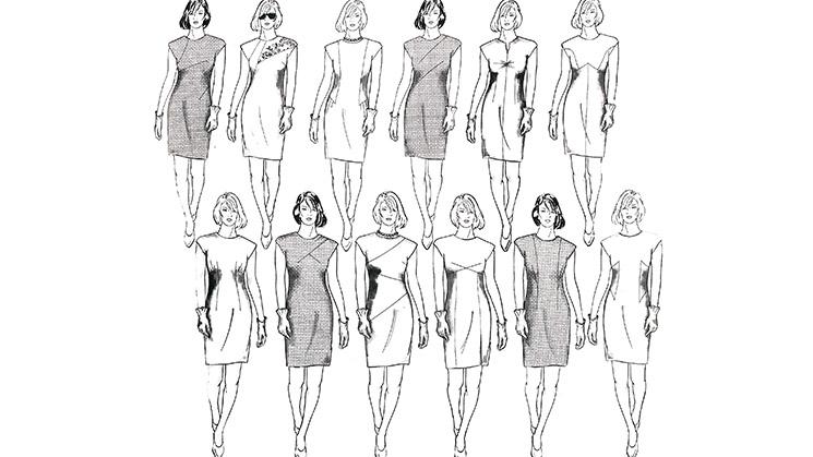 wölf Beispiele wie ein Abnäher ein Kleid verändern kann.