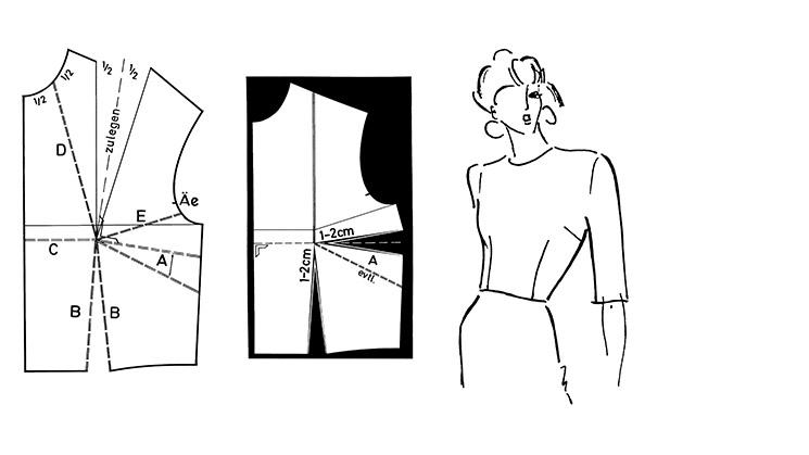 Eine Darstellung wie der Abnäher von einem Grundschnitt eines Oberteiles in die Seitennaht verlegt werden kann.