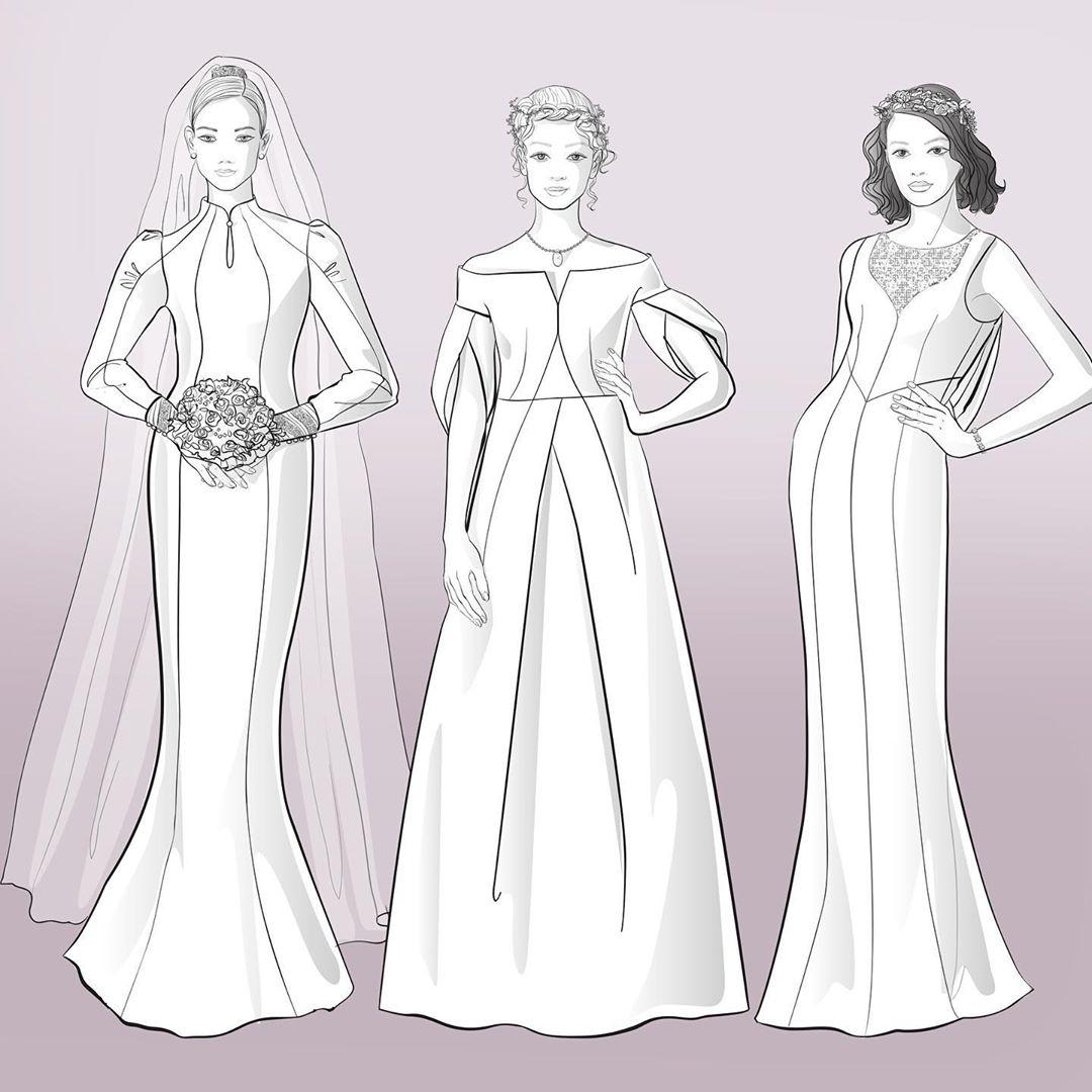 drei verschiedene Schnittkonstruktionen für Brautkleider