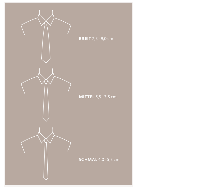 Verschiedene Krawatten Formen