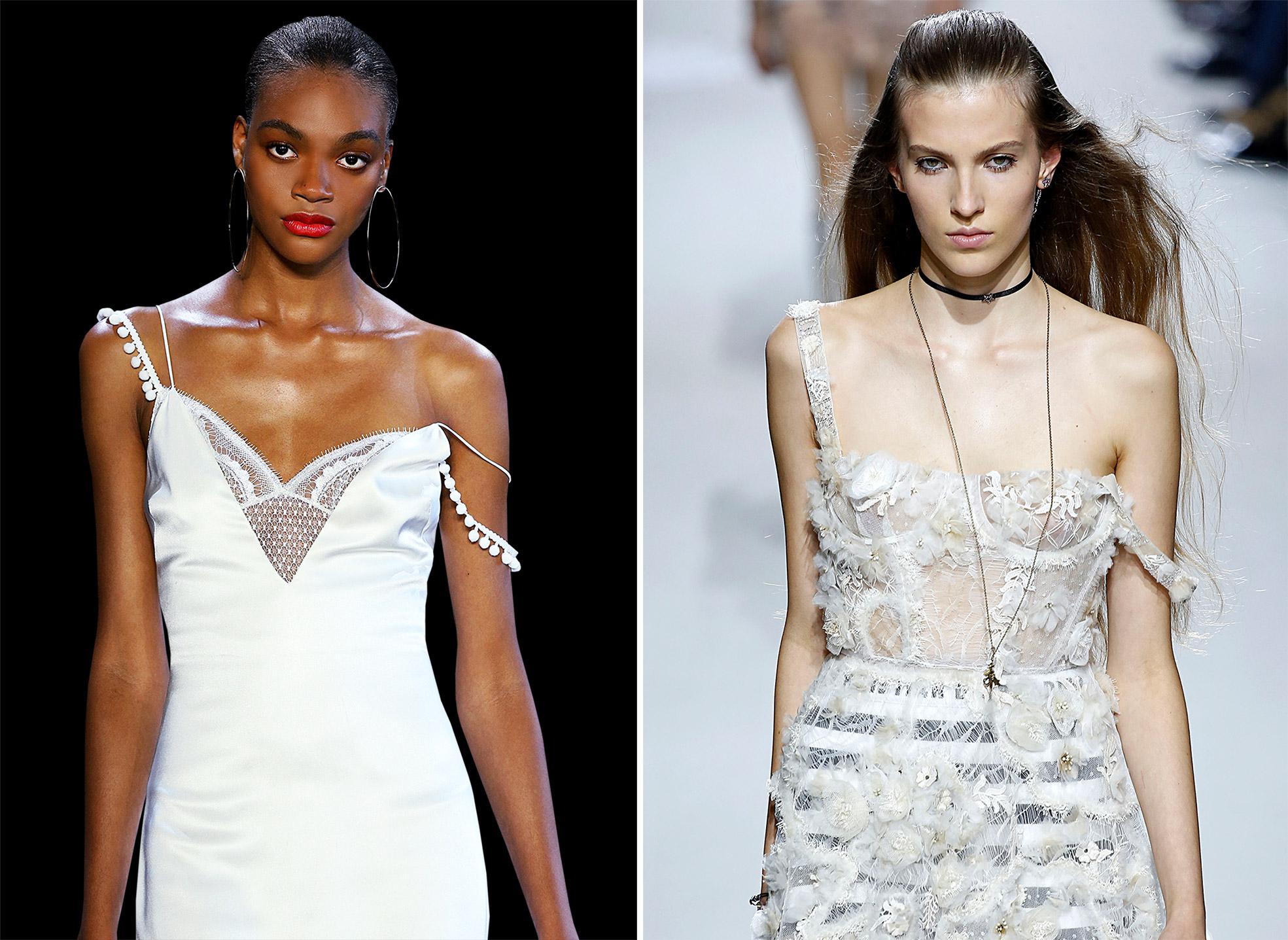 Kleider in Lingerie Look auf dem Laufsteg bei Cushnie und Dior