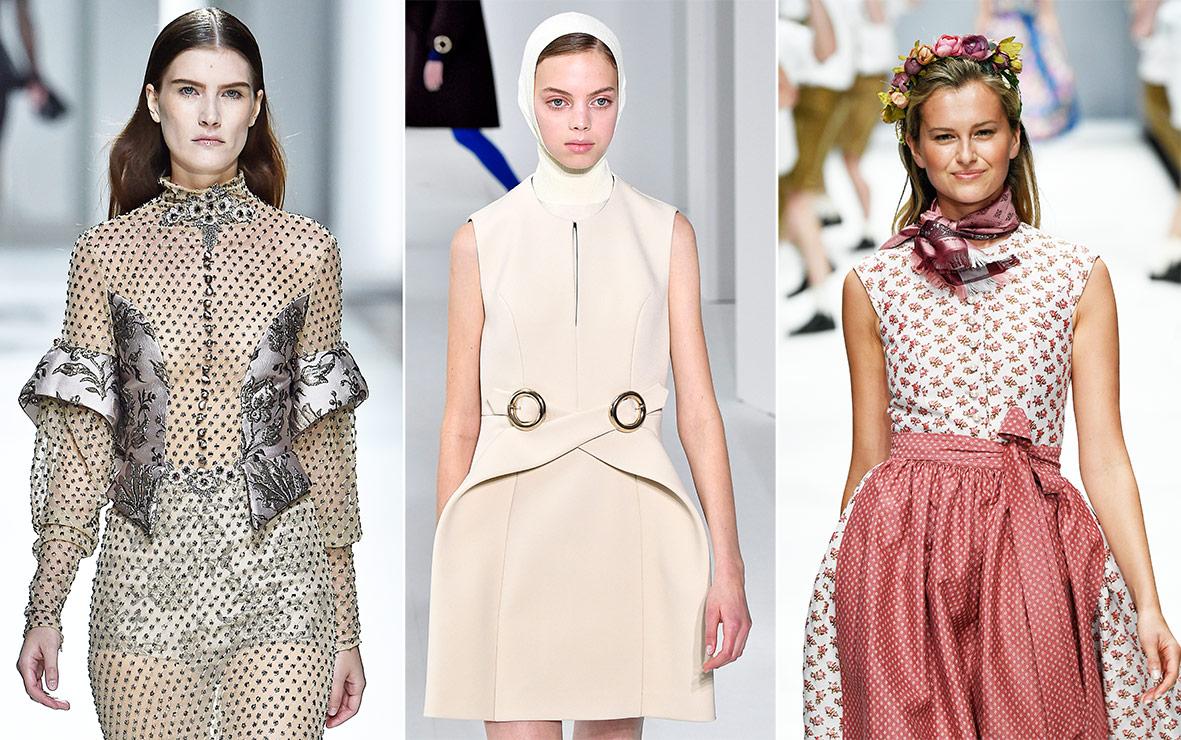 Models mit Kleidern mit Wiener Naht