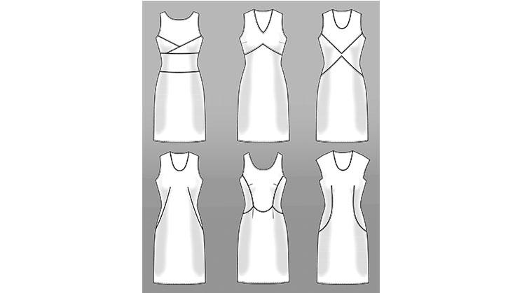 Sechs gezeichnete Kleider die durch das Kneifen in Form gebracht wurden.