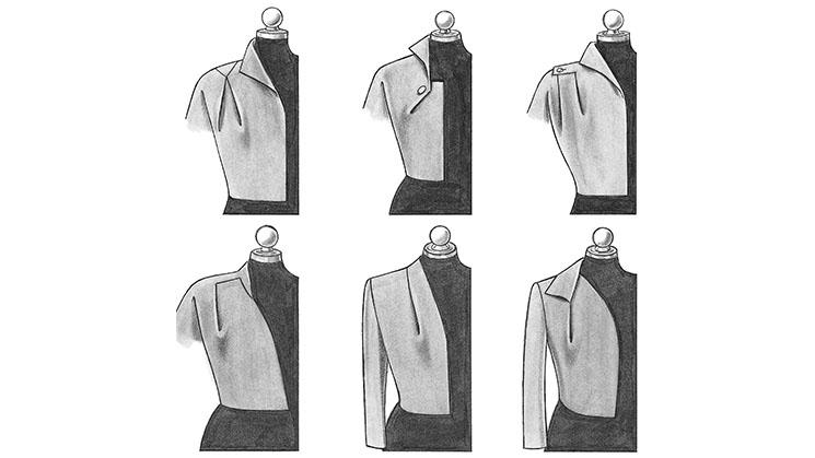 Sechs Beispiele von Abnähverlegungen im Stil der 50er-Jahre.