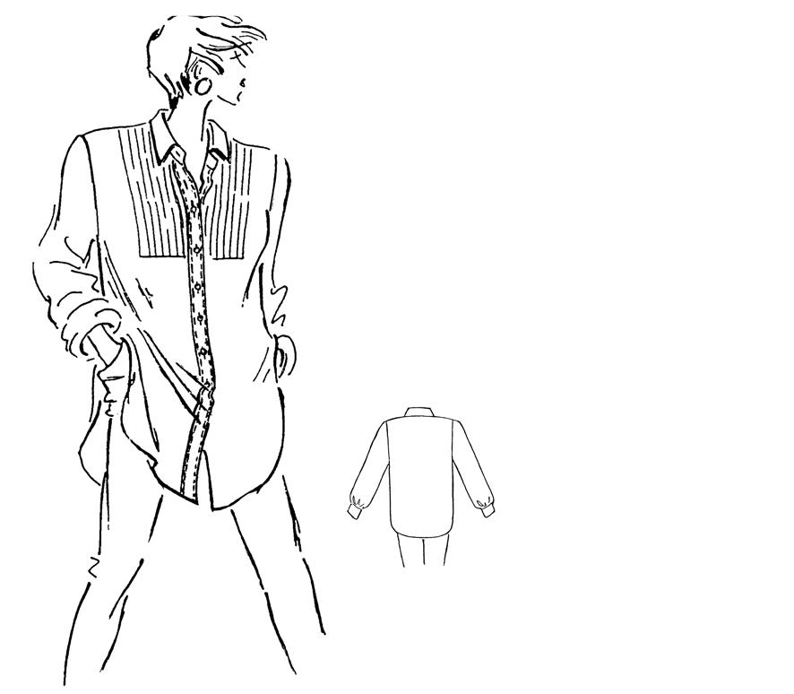Modezeichnung einer Bluse mit Biesen-Plastron