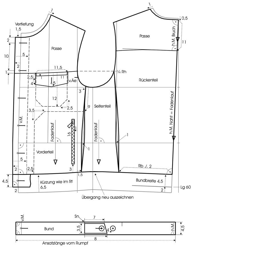 Schnittkonstruktion einer Jeansjacke