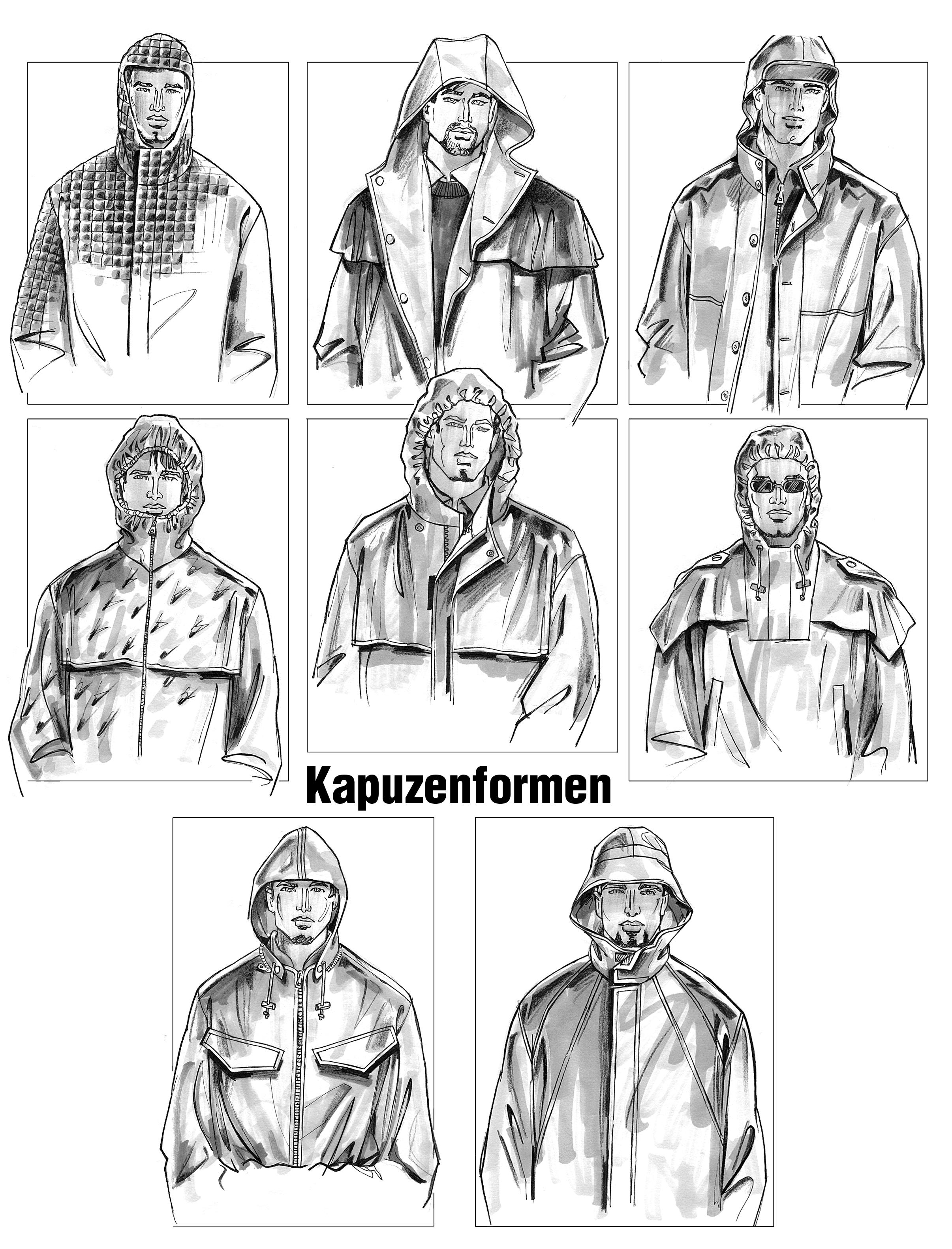 Kapuzenformen für Herrenmode