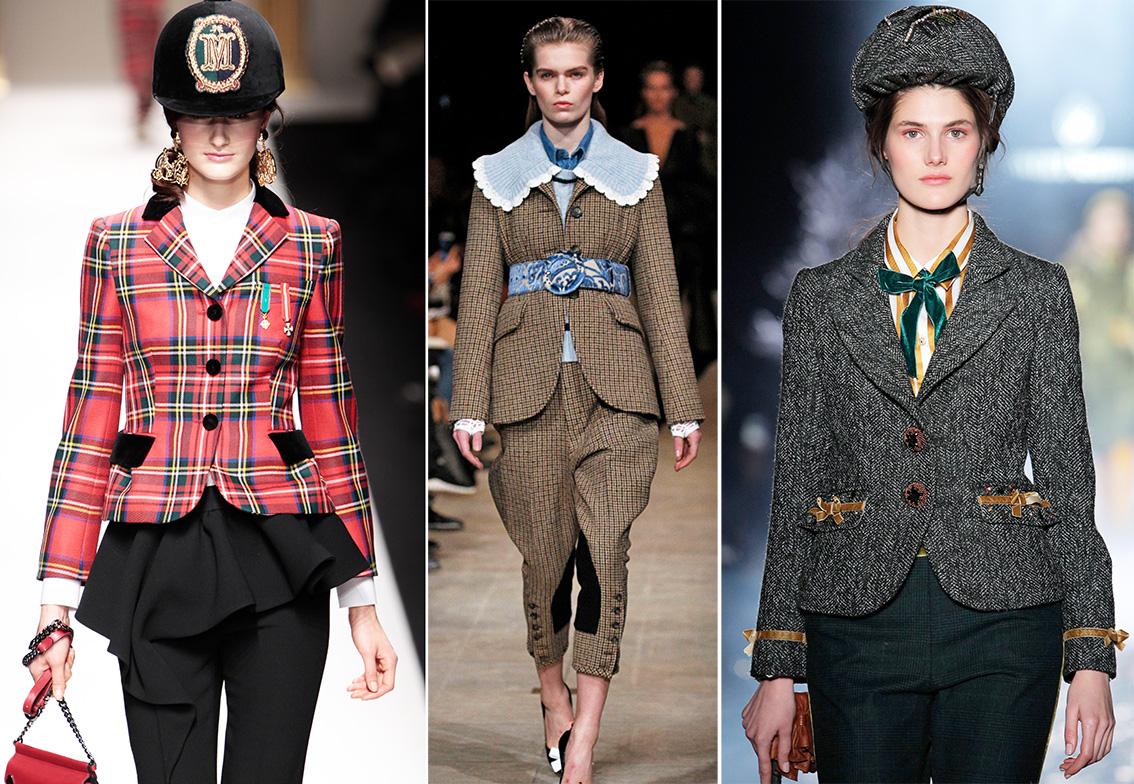 Dieses Bild zeigt Models auf dem Laufsteg mit Mode die von Reitbekleidung inspiriert wurde.