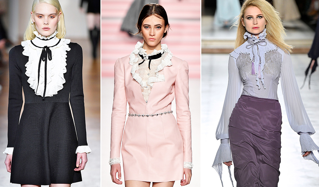 Models tragen Blusen und Kleider mit Volants auf dem Laufsteg