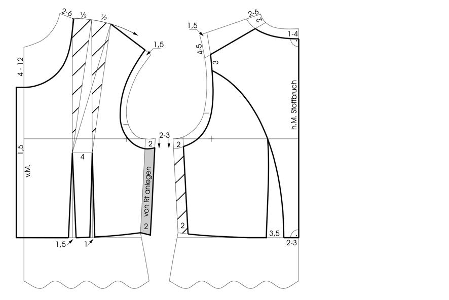 Schnittkonstruktion eines Dirndl Oberteils