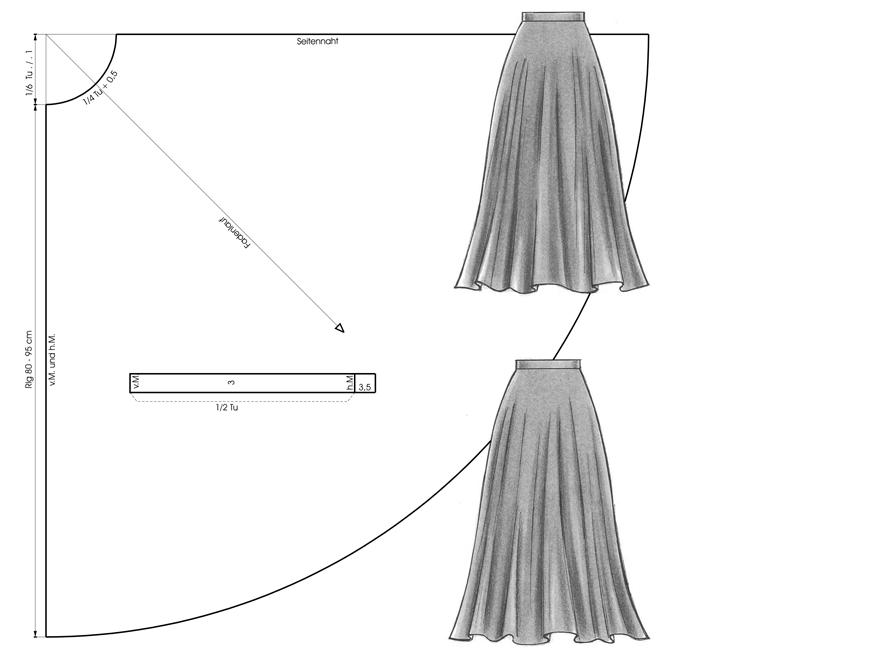 Anleitung zum Zeichen eines Schnittmusters für einen Tellerrock