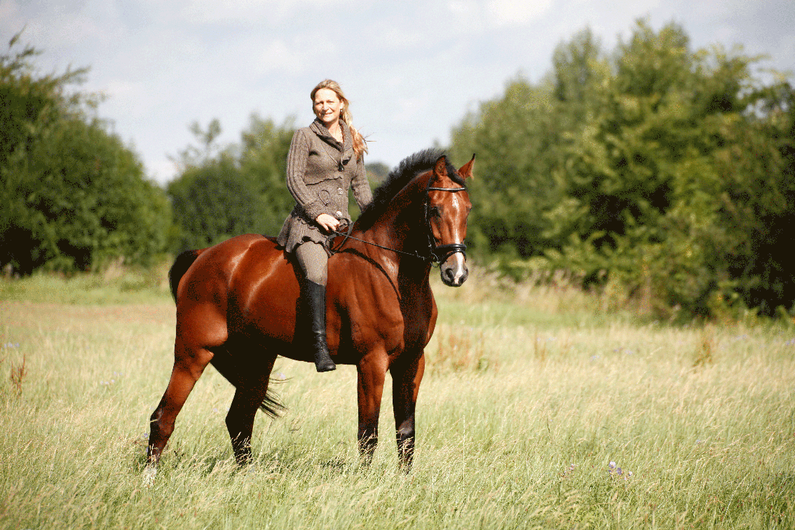 Das Bild zeigt Dagmar Pössnicker auf ihrem Pferd.