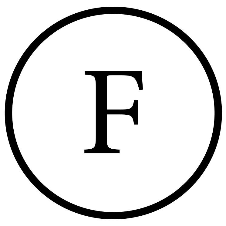 Das Symbol für die chemische Reinigung F.
