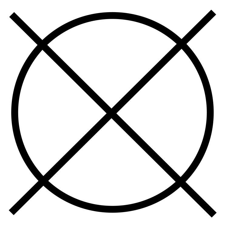 Das Symbol für eine chemische Reinigung ist nicht erlaubt.