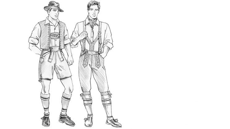 Zwei Lederhosen beispielhaft gezeichnet.