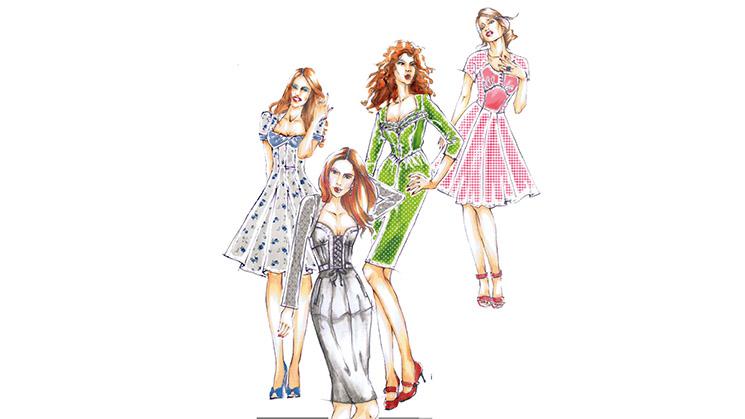 Vier verschiedene Trachtenkleid-Modelle.