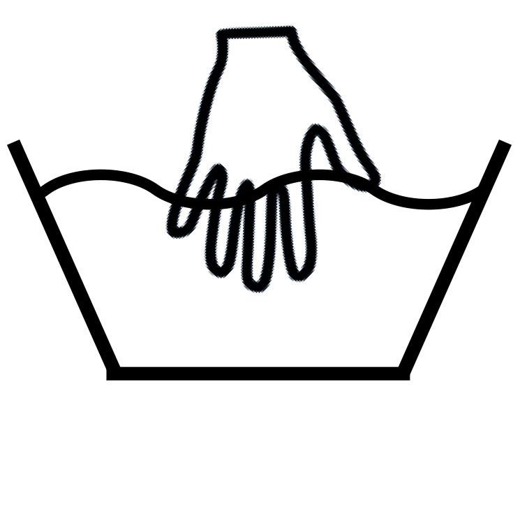 Das Waschymbol für die Handwäsche.