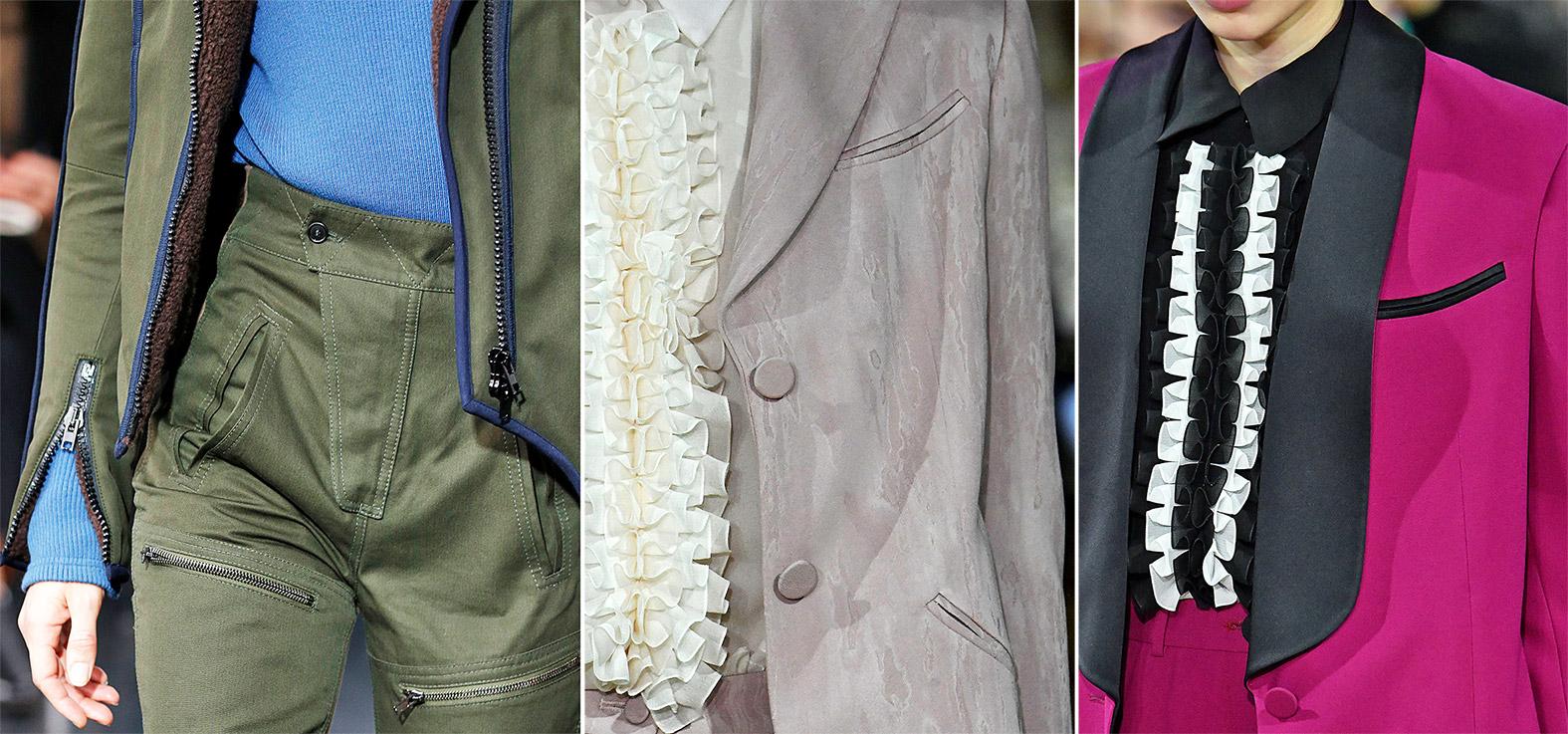 Paspeltaschen an Jacken und Hosen auf dem Laufsteg
