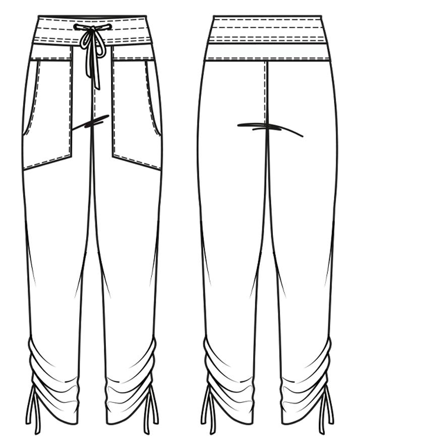 Yoga Hose mit Raffung am Bein.