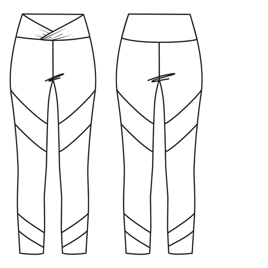 Yoga-Legging mit breitem Taillenbund