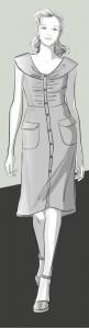 Zeichnung eines weiblichen Models in einem Kleid im Retrostil mit aufgesetzten Taschen