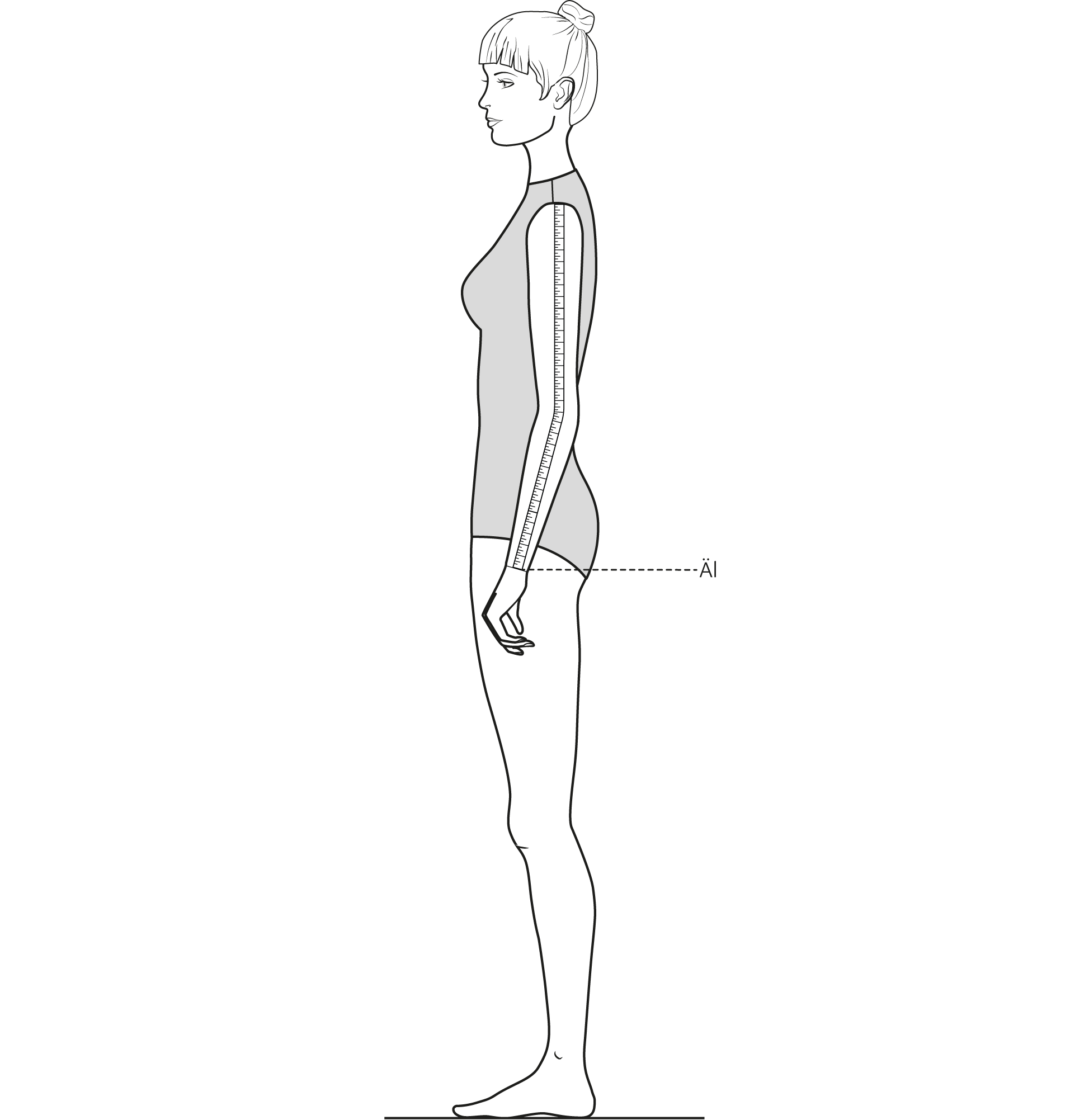 Diese Zeichnung zeigt das Messen der Ärmellänge.