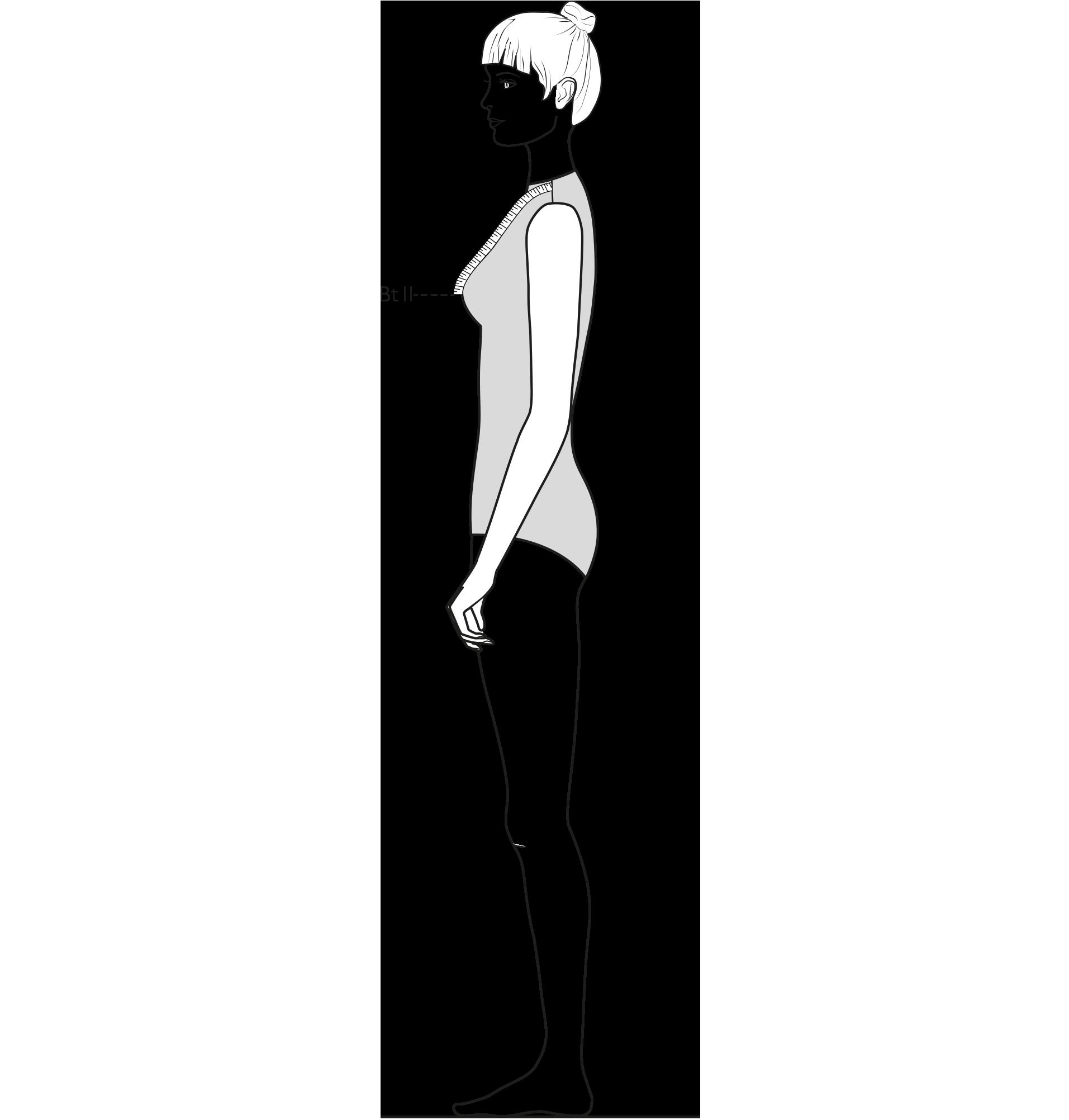 Diese Zeichnung zeigt das Messen der Brusttiefe ll