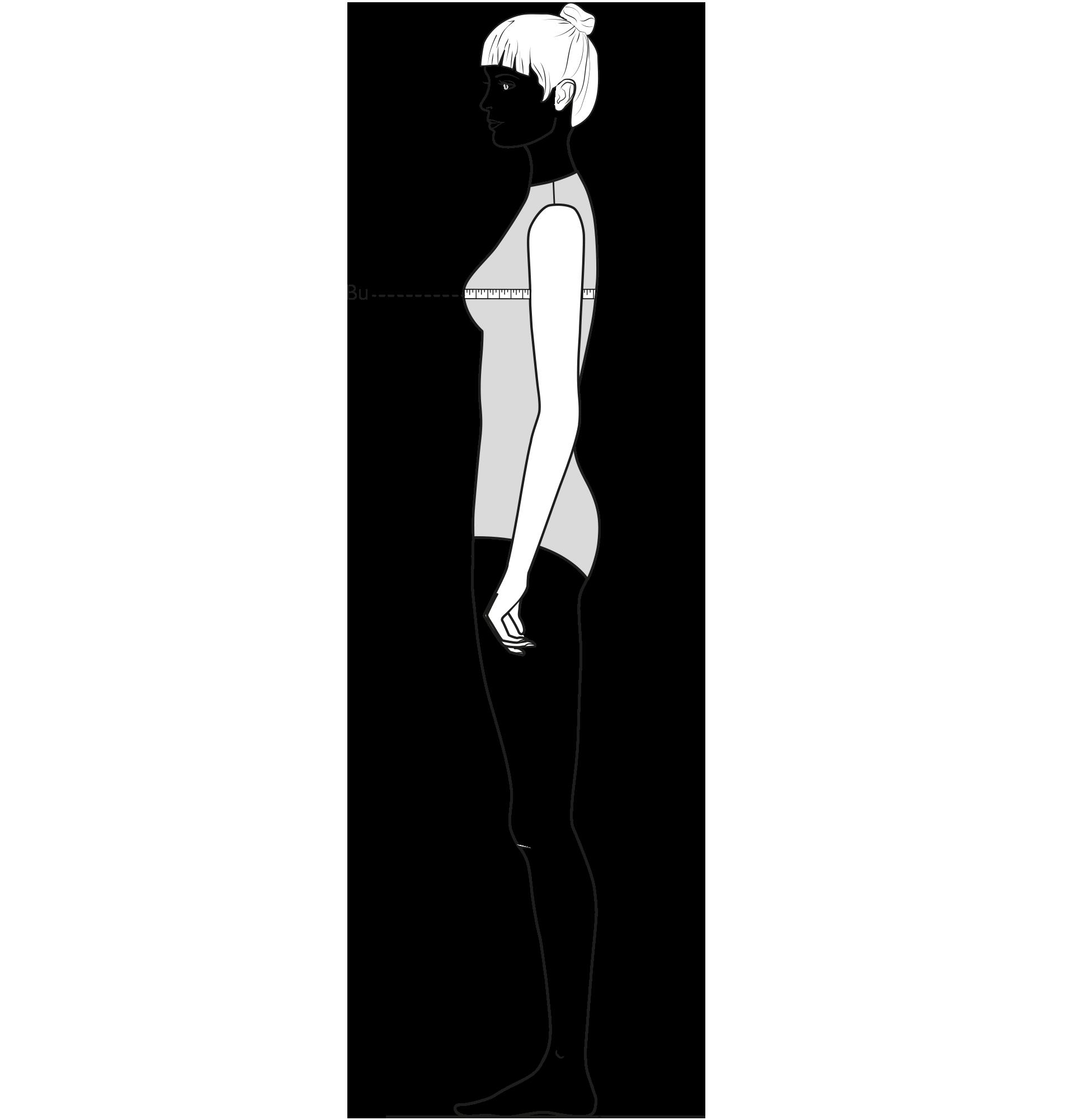 Diese Zeichnung zeigt das Messen des Brustumfangs.